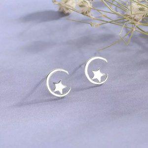 925 Minimalist Moon Star Earrings